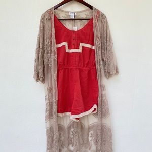 FOSSIL coral and crochet romper